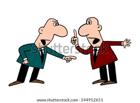 The two men argue, argue, find out the relationship, there have been discussions - stock photo