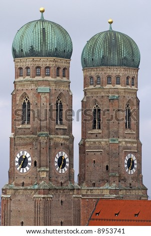 The two onion shaped towers of the Church of Our Lady in Munich, Germany