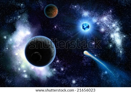 The two planets solar system deep in the galaxy - stock photo
