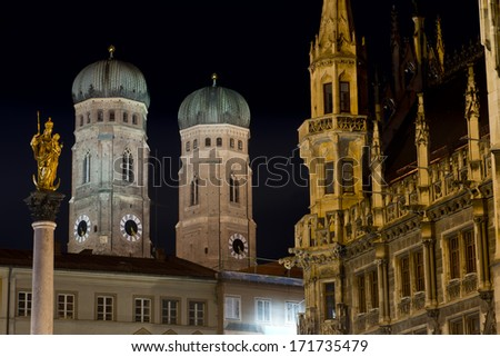 The two tower of the Cathedral of Munich : Frauenkirche - stock photo