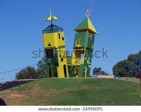 The two towers at Monash adventure park - stock photo