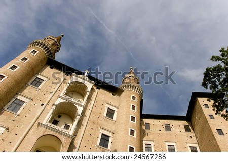 The two towers symbol of Urbino - stock photo