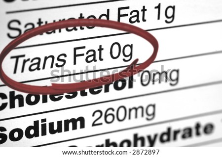 "the type ""Trans Fat 0g"" circled in red on a nutrition label"