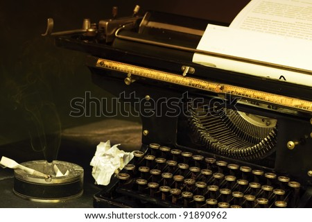 The typewriter image in style retro with a cigarets and smoke - stock photo