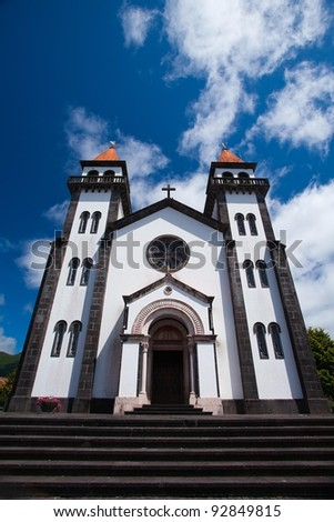 The typical church on Sao Miguel on Azores - stock photo