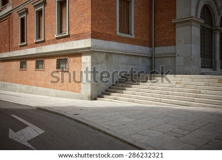 The typical corner of an old European street. - stock photo