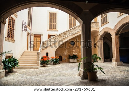 the typical Majorca courtyard built in baroque style, Palma de Mallorca, Spain - stock photo