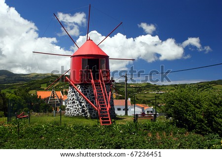 The typical old windmill on Faial island - stock photo