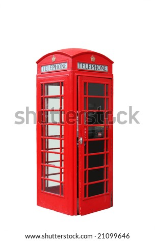 The typical red telephone booth of London, UK - stock photo