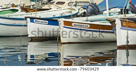 "The typical small boats of ""Marseille"" in South France - stock photo"