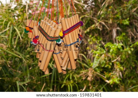 the typical tools of the Latin American woodwind - stock photo