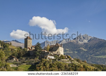 The Tyrol Castle in Burggrafenamt near Merano was the family seat of the Counts of Tyrol - stock photo