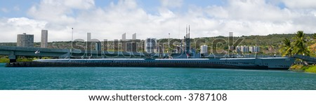 The U.S.S. Bowfin, a World War Two submarine in Pearl Harbor, Hawaii - stock photo