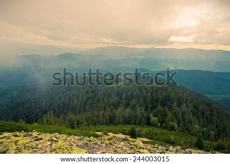 The Ukrainian Carpathians, view from top of the mountain of Dovbushanka - stock photo