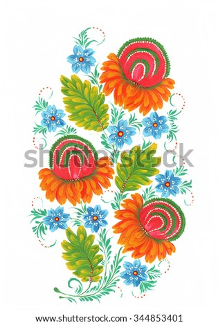 The Ukrainian decorative list. Flower composition