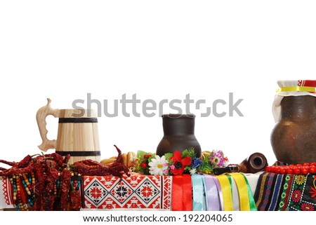 the Ukrainian ware and utensils on the isolated white background - stock photo