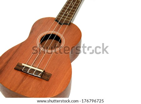 The ukulele isolation of a white background