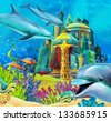 The underwater castle - princess series - illustration for the children - stock vector