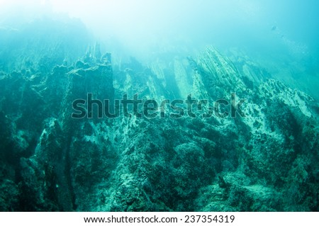The underwater mountain below the hot spring, the different density of hot and cold water makes the vision blurry. Barracuda Lake, Coron, Philippines.