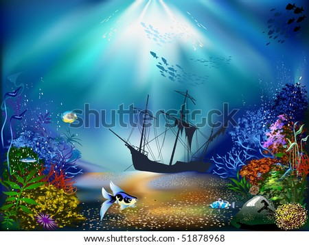 The underwater world of fish and plants - stock photo