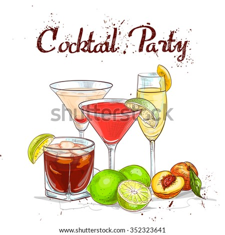 The Unforgettables Cocktail Set cocktail party, - stock photo