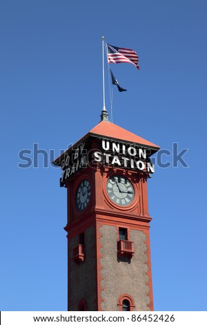 The Union station tower clock in Portland Oregon. - stock photo