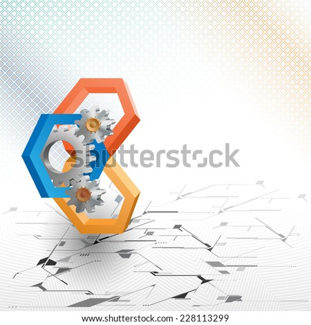 The Unique Idea for technology background; Cogwheels framed by three dimensions hexagons. Abstract background for office and business, wallpaper, poster, template for designers.  - stock photo