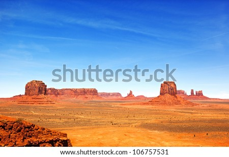 The unique landscape of Monument Valley, Utah, USA - stock photo