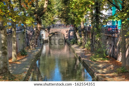 The unique split-level Oudegracht (old canal) that runs through the center of Utrecht - stock photo