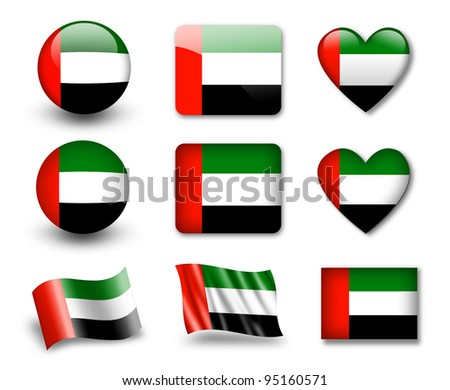 The United Arab Emirates flag - set of icons and flags. glossy and matte on a white background. - stock photo