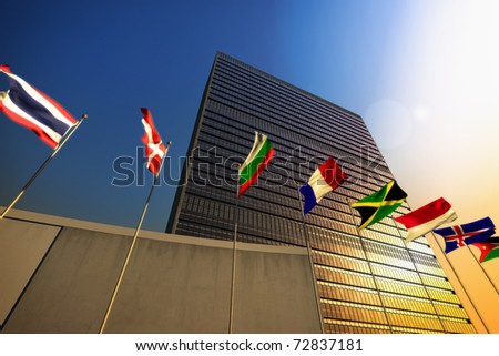 The United Nations building at sunset - stock photo