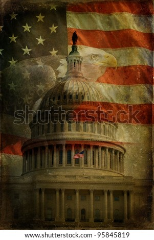 The United States Capitol, American Flag and Bald Eagle with aged, textured effect. - stock photo