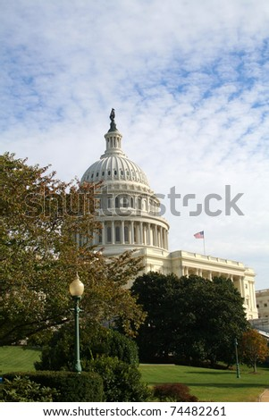 The United States Capitol building in autumn.