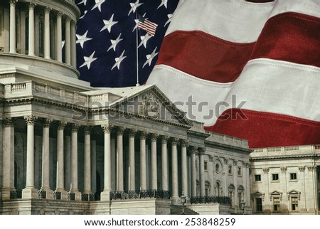 The United States Capitol Building in Washington DC with a U.S.A. flag in the background. A grunge effect has been applied.