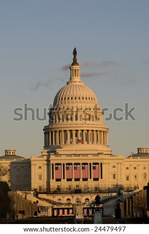 The United States capitol building with beautiful sunset lighting - stock photo