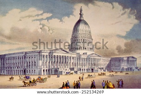 The United States Capitol in Washington D.C., lithograph by Currier & Ives - stock photo