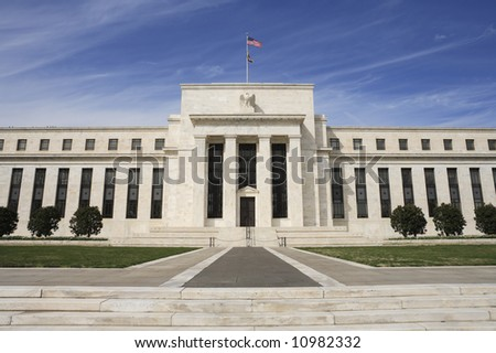 The United States Federal Reserve building in Washington, DC. - stock photo