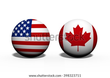 The United States of America and Canada working together, Two globes with a flag of the United States and Canada isolated on white - stock photo