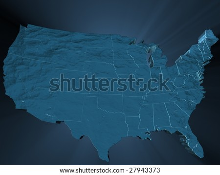 the United States of America in ocean motif - stock photo
