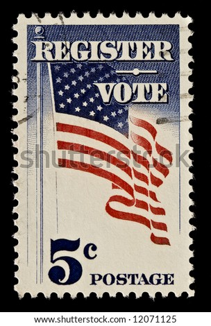 The United States postage stamp was issued to draw more voters to the polls. Issued 1964