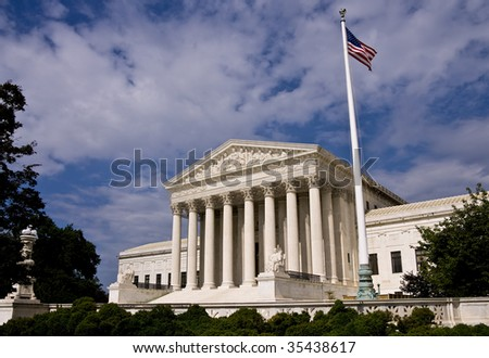 The United States Supreme Court building in Washington DC. - stock photo