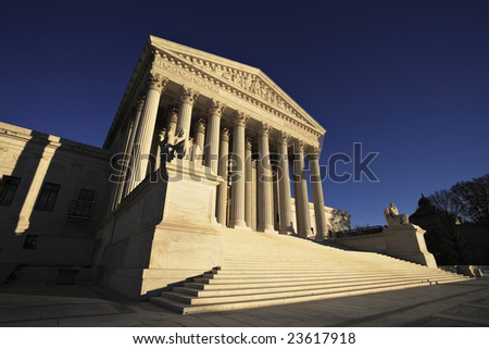 The United States Supreme Court building, late afternoon. - stock photo