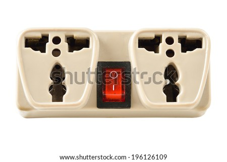 The universal adapter isolated on white background - stock photo