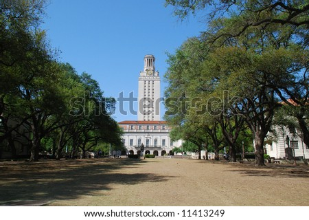The University of Texas at Austin tower and main building - stock photo