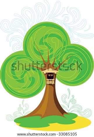 The unknown eyes which are looking out of a hollow. vector. illustration - stock photo