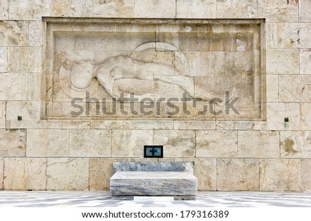 the unknown soldier monument in front of the greek parliament in Athens Greece - stock photo