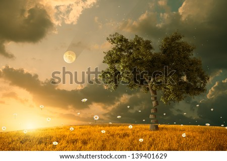 The unreal fantastic land with flying flowers and tree - stock photo