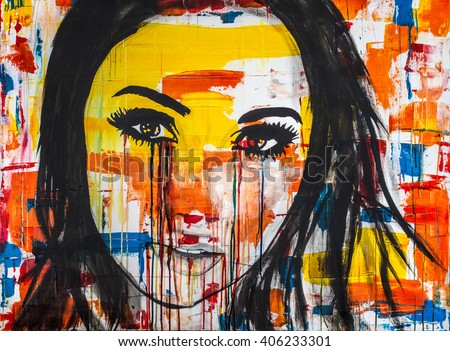 The unseen emotions of her innocence is an acrylic painting, Ink and Watercolor on Canvas of a young women crying colors.Sometimes our outward appearances mask what going on inside us.  - stock photo