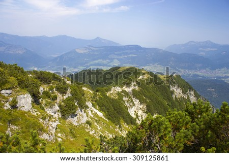 The Unterberghorn (1,773 m above sea level ) in the Austrian district of Kitzb�¼hel in Tyrol is the highest peak between the mountain ranges of the Wilder Kaiser and Loferer Steinberge. - stock photo