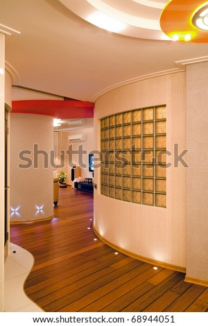 The unusual interior with curved lines of walls - stock photo